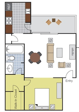 580 sq. ft. EFF2 floor plan