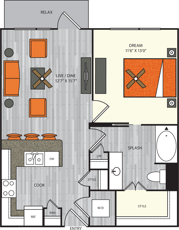 758 sq. ft. A2.3 floor plan