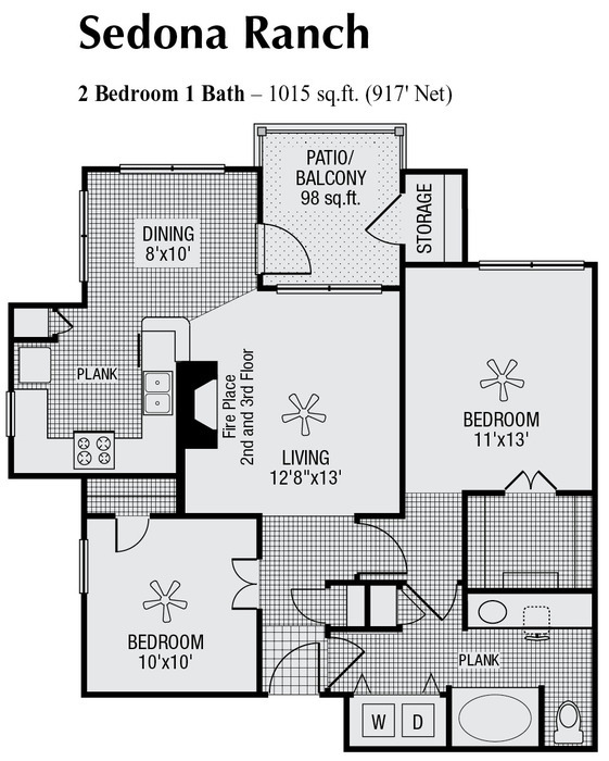 917 sq. ft. to 1,015 sq. ft. floor plan