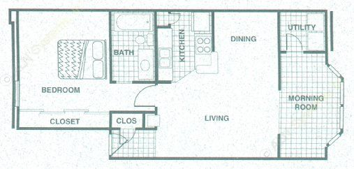 772 sq. ft. A3MR floor plan