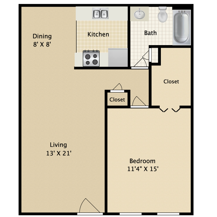 722 sq. ft. A1 floor plan