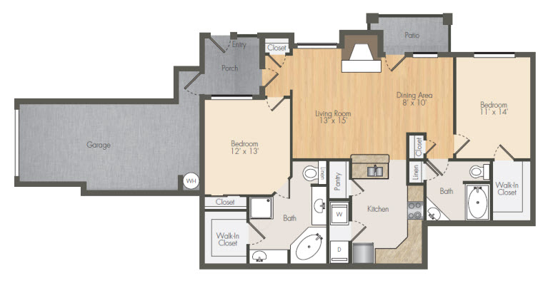 1,272 sq. ft. B3 floor plan