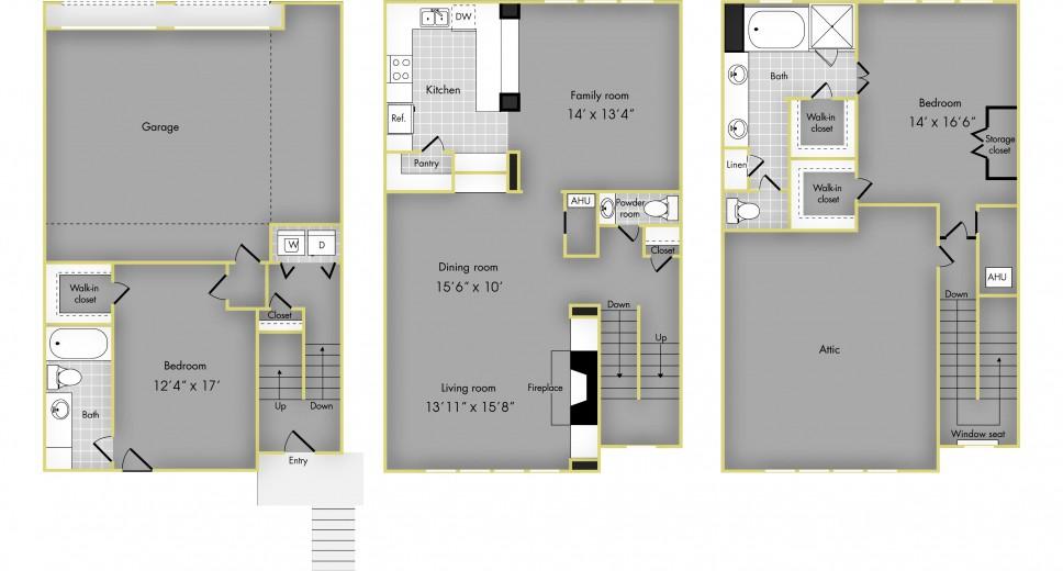 1,882 sq. ft. H floor plan