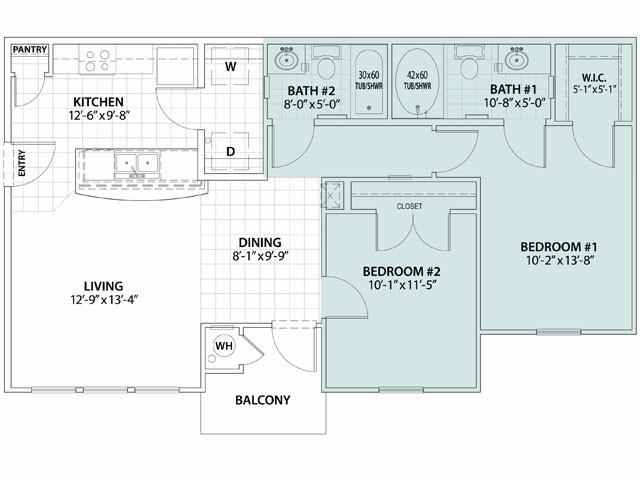 908 sq. ft. Cipres 60% floor plan
