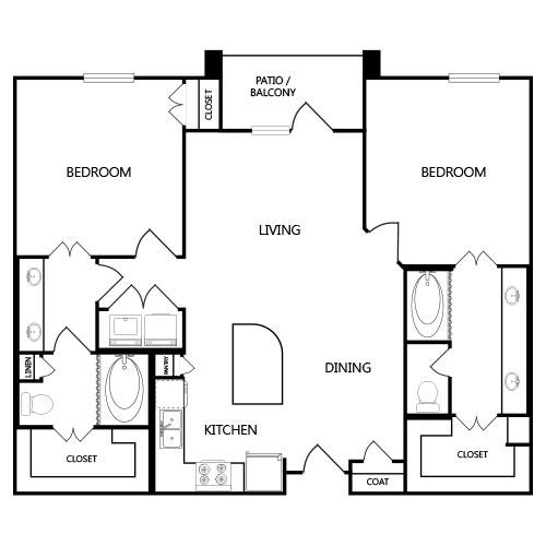 1,120 sq. ft. B1 floor plan