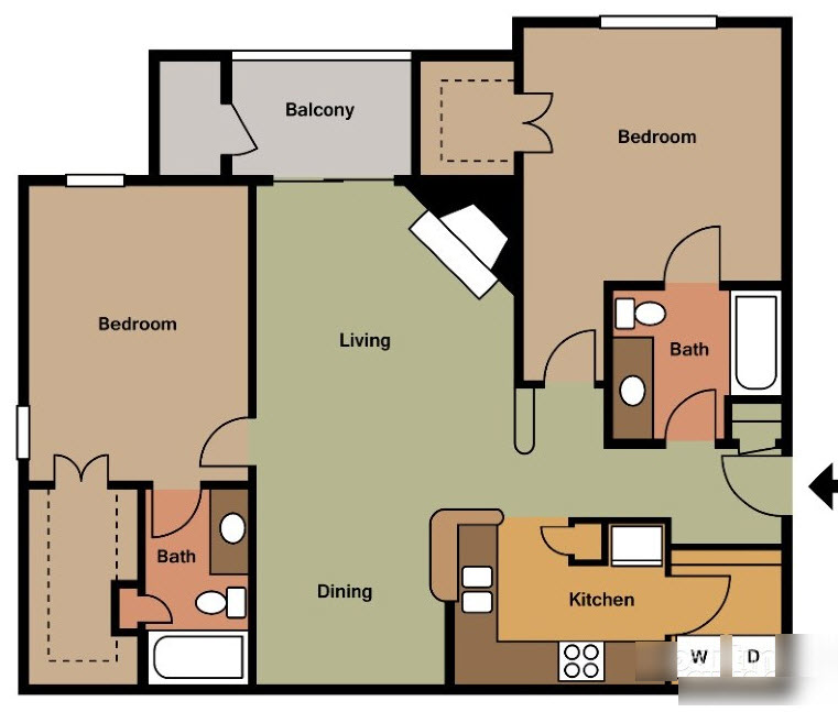 1,063 sq. ft. E floor plan