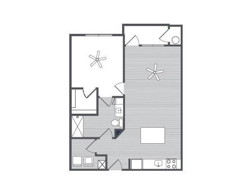 785 sq. ft. Lucca floor plan