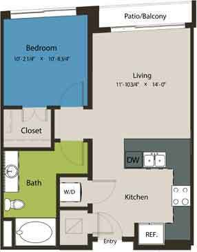 642 sq. ft. A8B floor plan