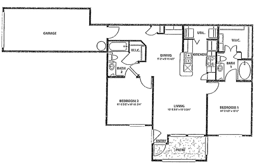 980 sq. ft. to 1,023 sq. ft. 60% floor plan