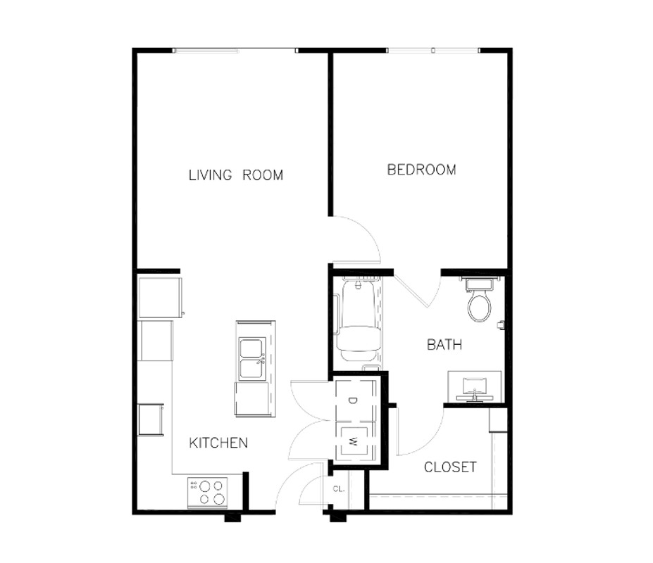 702 sq. ft. to 714 sq. ft. A1-CHC floor plan