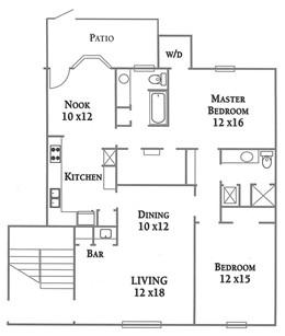 1,329 sq. ft. Plan C floor plan