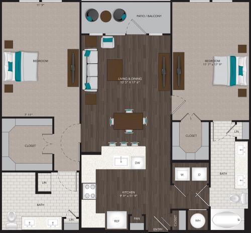 1,263 sq. ft. B3 floor plan