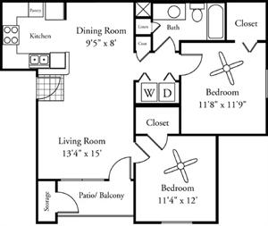 885 sq. ft. Stella floor plan