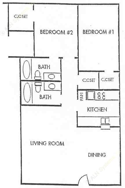 1,000 sq. ft. B3-LUX floor plan