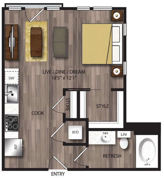 530 sq. ft. S1.1 floor plan