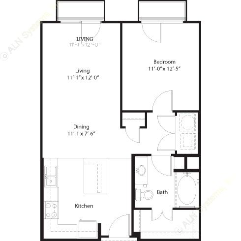 722 sq. ft. to 734 sq. ft. Navarro floor plan