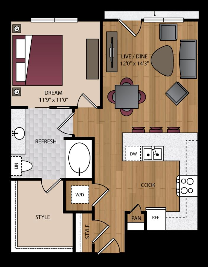 751 sq. ft. A1.6 floor plan
