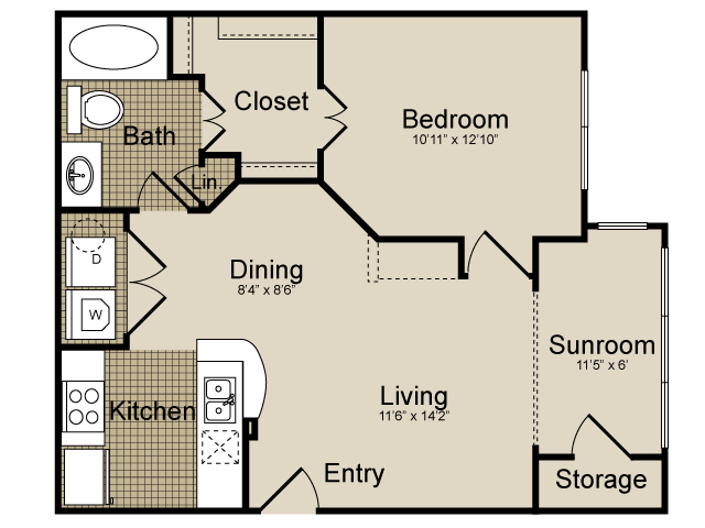 721 sq. ft. Auriga   (A2) floor plan