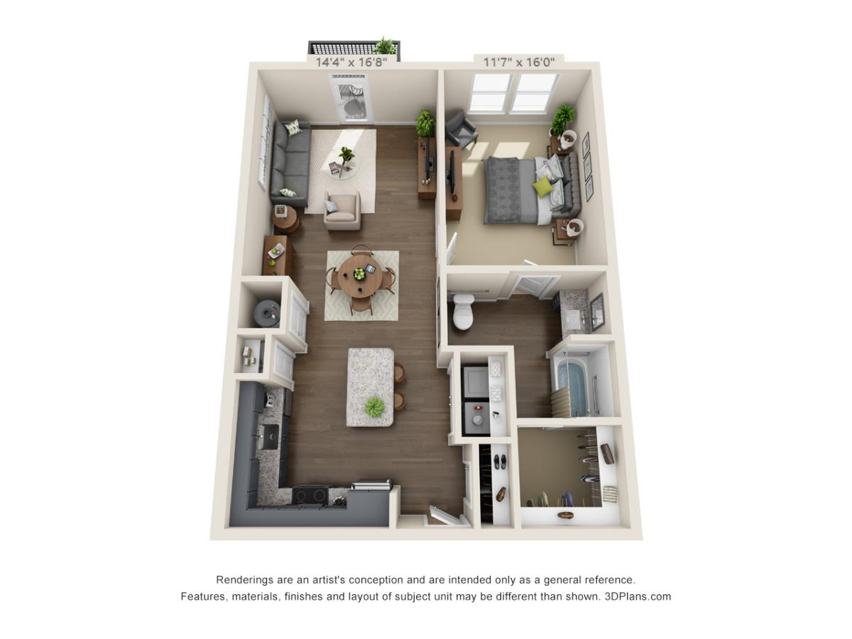 855 sq. ft. A5B floor plan