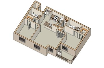 975 sq. ft. B2 60 floor plan
