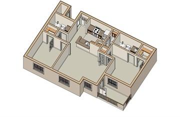 975 sq. ft. B2 60 floor plan
