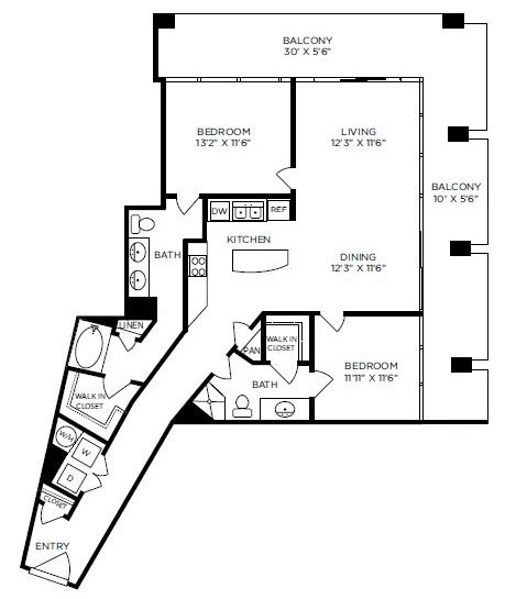 1,282 sq. ft. to 1,557 sq. ft. Eaton floor plan