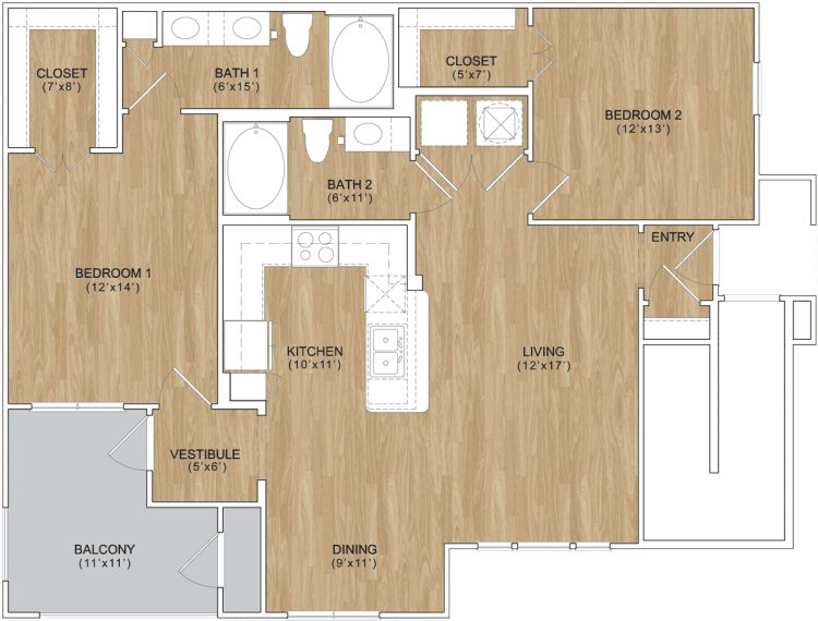 1,078 sq. ft. Stonebrook floor plan