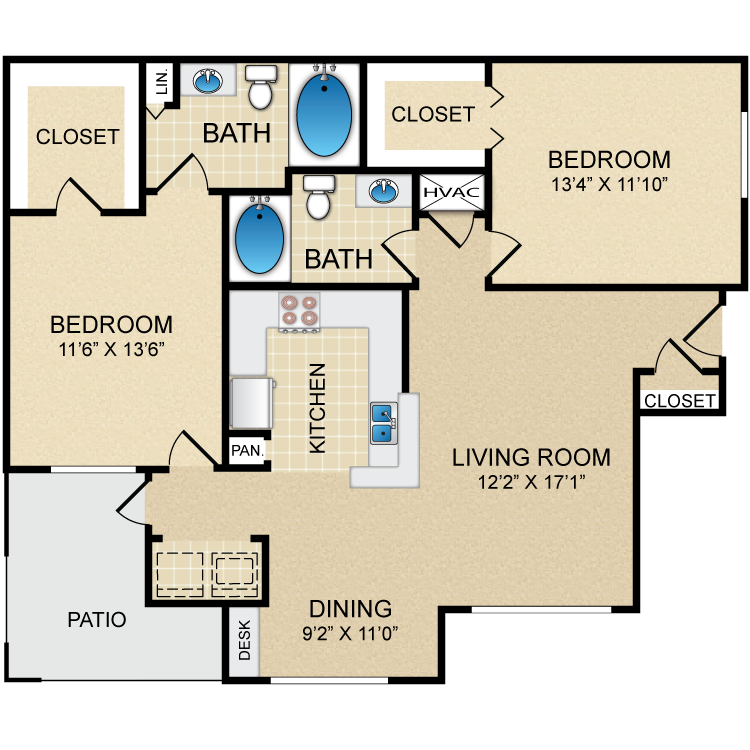 1,104 sq. ft. D2 floor plan
