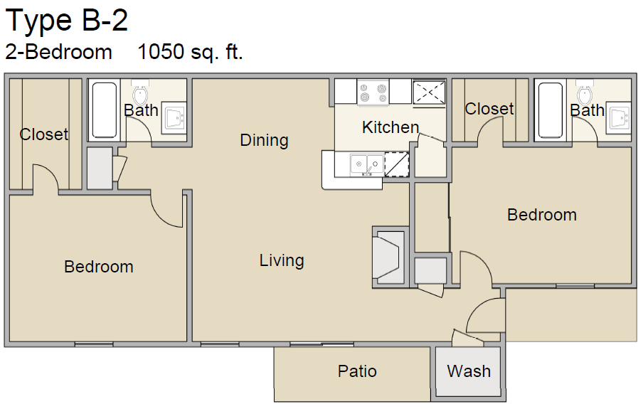 1,050 sq. ft. B2 floor plan