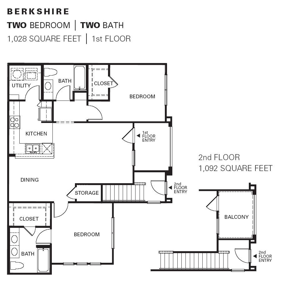 1,028 sq. ft. Berkshire floor plan