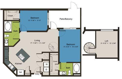 1,136 sq. ft. B7A-L1 floor plan