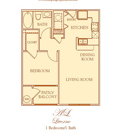 615 sq. ft. A2 floor plan