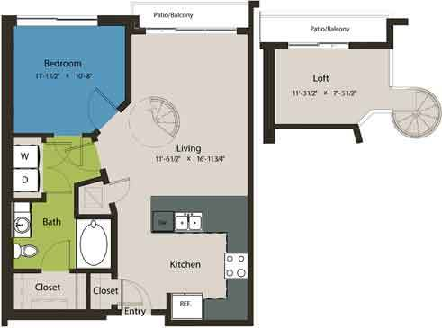 795 sq. ft. A1K-L1 floor plan