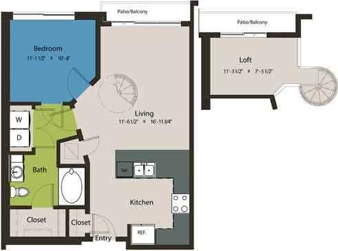 795 sq. ft. A1K-L1 floor plan