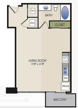 585 sq. ft. C2 floor plan