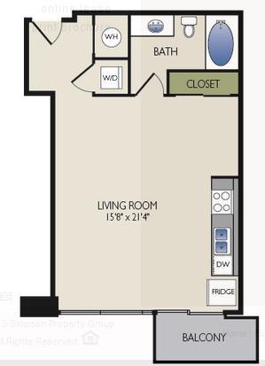 585 sq. ft. C3 floor plan
