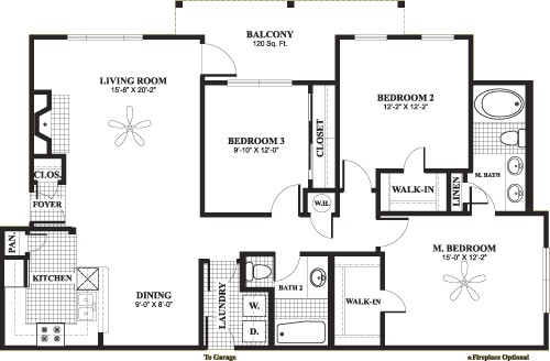 1,415 sq. ft. H3 floor plan