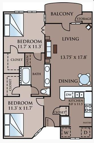 825 sq. ft. Carlton floor plan