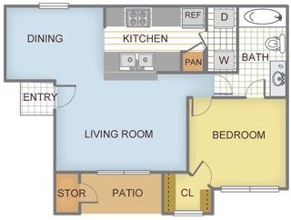 677 sq. ft. Aspen floor plan