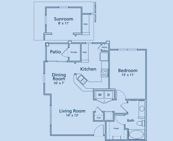 866 sq. ft. A4 floor plan
