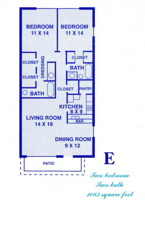 1,083 sq. ft. E floor plan