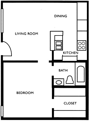 494 sq. ft. A1 floor plan