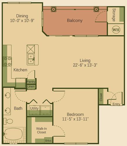 913 sq. ft. 1D floor plan