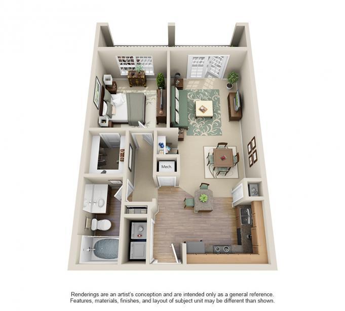 756 sq. ft. CARLTON floor plan