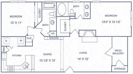 1,047 sq. ft. FP floor plan