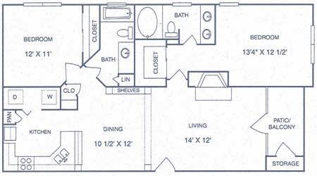 1,047 sq. ft. FP floor plan