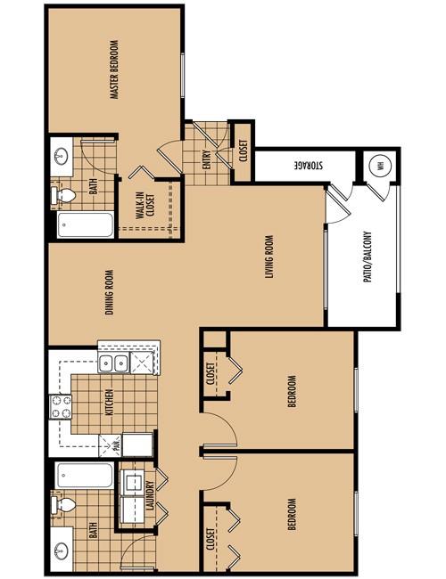 1,145 sq. ft. C3 floor plan