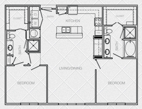 1,155 sq. ft. to 1,226 sq. ft. J floor plan