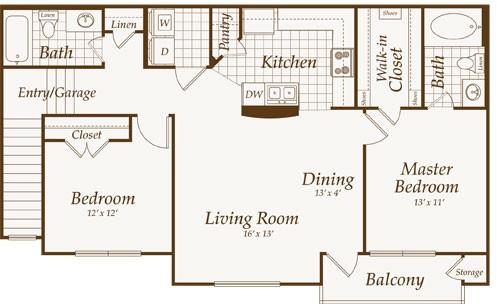 1,084 sq. ft. ATLANTIC-up floor plan