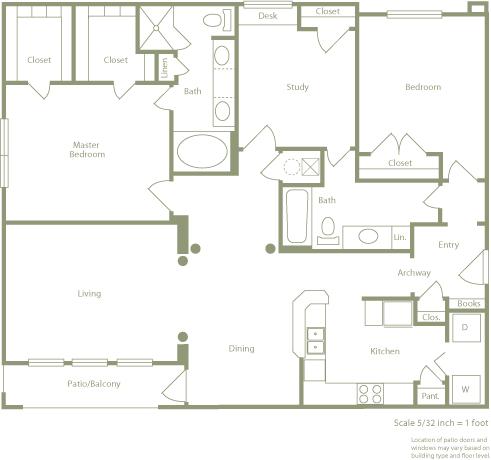 1,462 sq. ft. D floor plan
